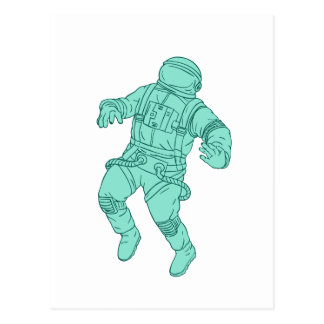 Astronaut Floating in Space Drawing Postcard