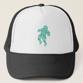 Astronaut Floating in Space Drawing Trucker Hat