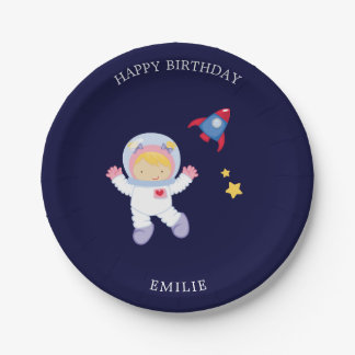 Astronaut Girl Kids Birthday Paper Plate