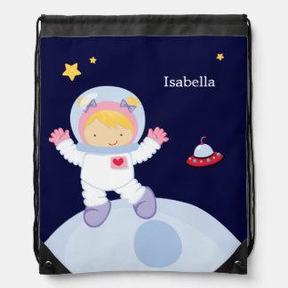 Astronaut Girl Kid's Personalized Drawstring Bag