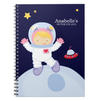 Astronaut Girl Kid's Personalized Spiral Notebook