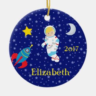 Astronaut Girl Night Sky Rocket Ornament