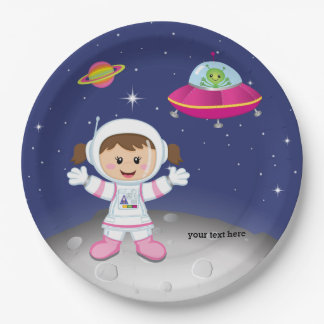 Astronaut girl paper plate