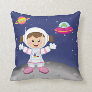 Astronaut girl throw pillow