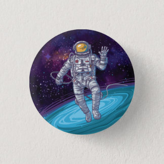 Astronaut in Space with Stars & Galaxy. 3 Cm Round Badge