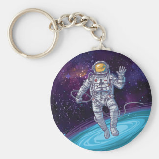 Astronaut in Space with Stars & Galaxy. Key Ring