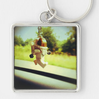Astronaut Silver-Colored Square Key Ring