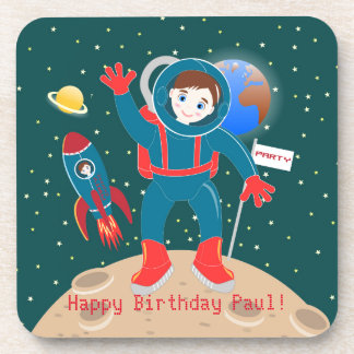 Astronaut kid birthday party beverage coasters