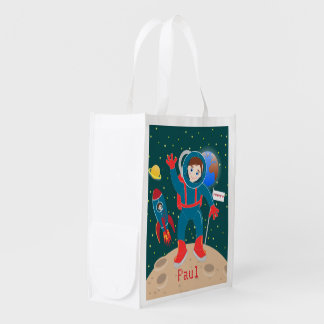 Astronaut kid birthday party reusable grocery bag