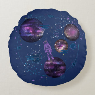 Astronaut Lost in Space Round Cushion