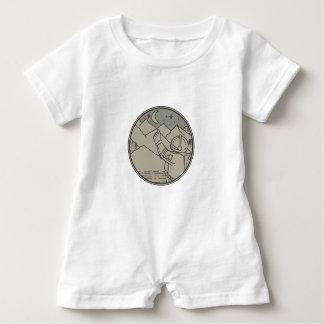 Astronaut Moon Stars Circle Mono Line Baby Bodysuit