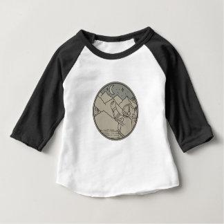 Astronaut Moon Stars Circle Mono Line Baby T-Shirt
