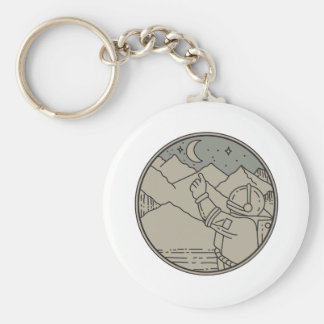 Astronaut Moon Stars Circle Mono Line Key Ring