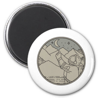 Astronaut Moon Stars Circle Mono Line Magnet