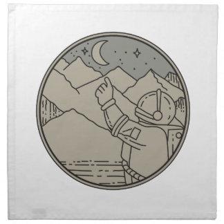 Astronaut Moon Stars Circle Mono Line Napkin
