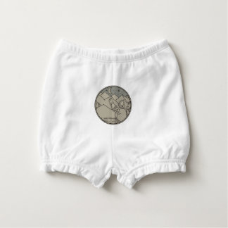 Astronaut Moon Stars Circle Mono Line Nappy Cover