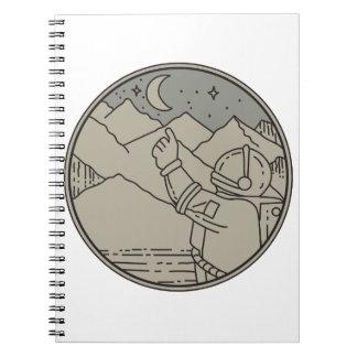 Astronaut Moon Stars Circle Mono Line Notebook