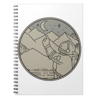 Astronaut Moon Stars Circle Mono Line Notebooks