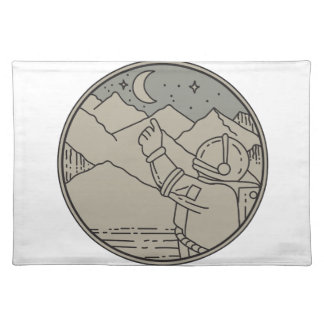 Astronaut Moon Stars Circle Mono Line Placemat