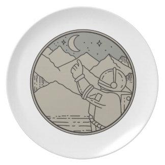 Astronaut Moon Stars Circle Mono Line Plate
