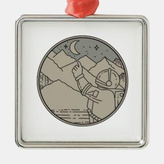 Astronaut Moon Stars Circle Mono Line Silver-Colored Square Decoration