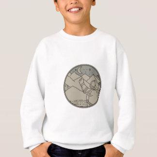 Astronaut Moon Stars Circle Mono Line Sweatshirt