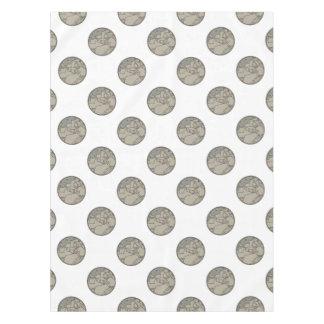 Astronaut Moon Stars Circle Mono Line Tablecloth