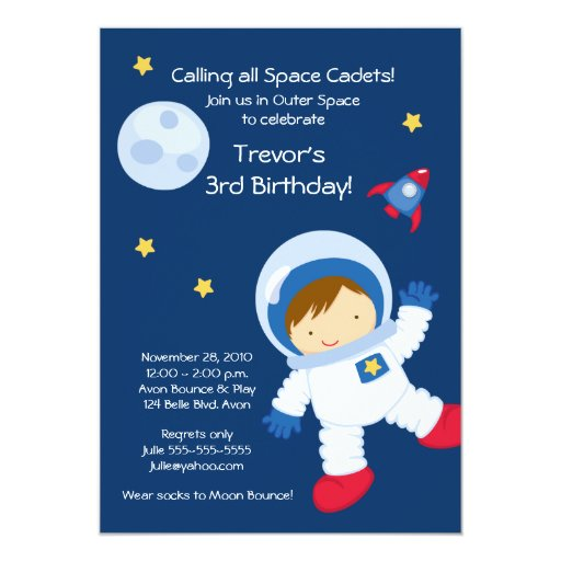 Astronaut OUTER SPACE Birthday Invitation   Zazzle
