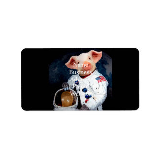 Astronaut pig - space astronaut address label