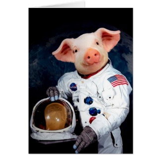 Astronaut pig - space astronaut card