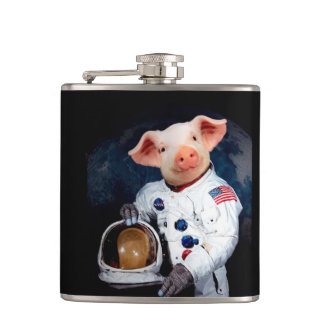 Astronaut pig - space astronaut hip flask