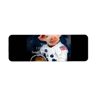 Astronaut pig - space astronaut return address label