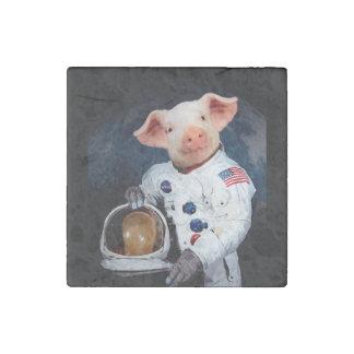 Astronaut pig - space astronaut stone magnet