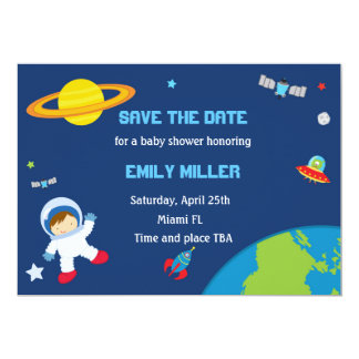 Astronaut Planets Baby Shower Save the Date Card