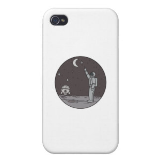 Astronaut Pointing Stars Moon Shuttle Mono Line Cover For iPhone 4