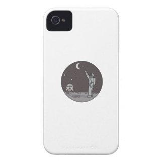 Astronaut Pointing Stars Moon Shuttle Mono Line iPhone 4 Case