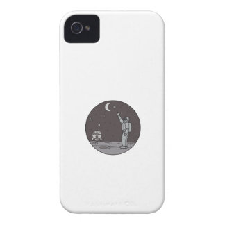 Astronaut Pointing Stars Moon Shuttle Mono Line iPhone 4 Case-Mate Cases