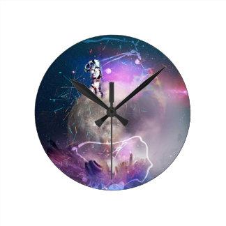 Astronaut Riding Super Nova Round Clock