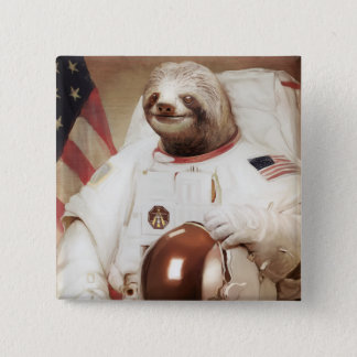 Astronaut Sloth 15 Cm Square Badge