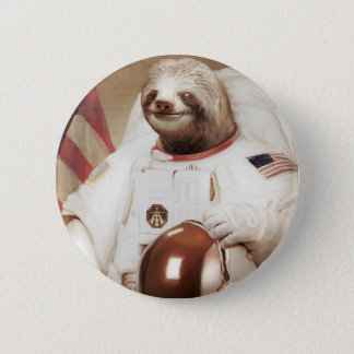 astronaut sloth 6 cm round badge