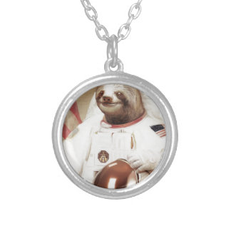 astronaut sloth silver plated necklace