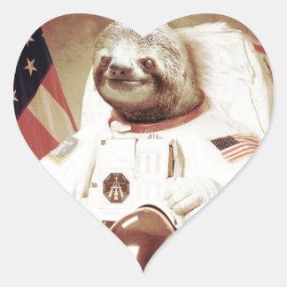 Astronaut Sloth Heart Sticker