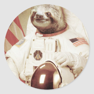 Astronaut Sloth Classic Round Sticker