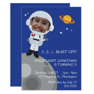 Astronaut Space Explorer Birthday Photo Templase Card