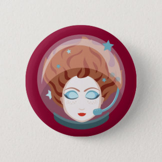 Astronaut Space Girl Button