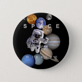 astronaut space mission solar system planets 6 cm round badge