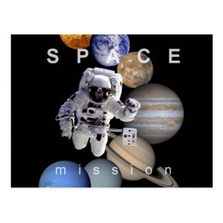 astronaut space mission solar system planets postcard
