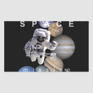 astronaut space mission solar system planets rectangular sticker