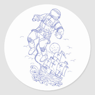 Astronaut Tethered Caravel Ship Drawing Classic Round Sticker