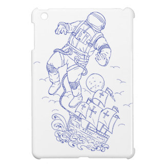 Astronaut Tethered Caravel Ship Drawing iPad Mini Cover